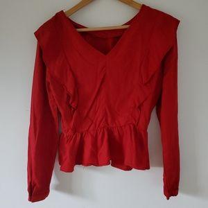 ZARA Basic l Red ruffled peplum Long sleeve - S